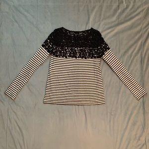 Bailey 44 Black Cream Striped Crochet Top EUC XS